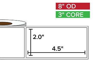 Rectangular Labels, Matte BOPP (poly) | 2 x 4.5 inches | 3 in. core, 8 in. outside diameter