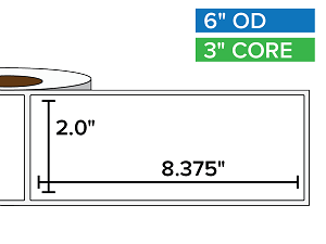 Rectangular Labels, Matte BOPP (poly) | 2 x 8.375 inches | 3 in. core, 6 in. outside diameter