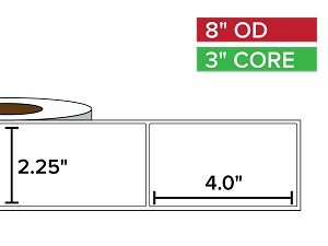 Rectangular Labels, Matte BOPP (poly) | 2.25 x 4 inches | 3 in. core, 8 in. outside diameter