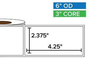 Rectangular Labels, Matte BOPP (poly) | 2.375 x 4.25 inches | 3 in. core, 6 in. outside diameter