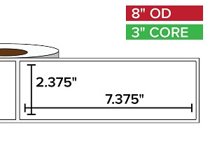 Rectangular Labels, Matte BOPP (poly) | 2.375 x 7.375 inches | 3 in. core, 8 in. outside diameter