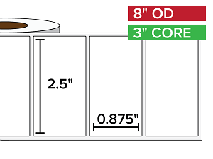 Rectangular Labels, Matte BOPP (poly) | 2.5 x 0.875 inches | 3 in. core, 8 in. outside diameter