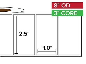 Rectangular Labels, Matte BOPP (poly) | 2.5 x 1 inches | 3 in. core, 8 in. outside diameter