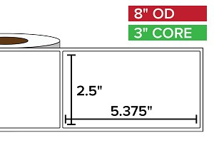 Rectangular Labels, Matte BOPP (poly) | 2.5 x 5.375 inches | 3 in. core, 8 in. outside diameter