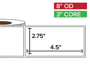 Rectangular Labels, Matte BOPP (poly) | 2.75 x 4.5 inches | 3 in. core, 8 in. outside diameter