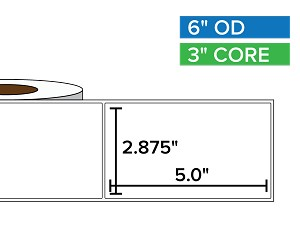 Rectangular Labels, Matte BOPP (poly) | 2.875 x 5 inches | 3 in. core, 6 in. outside diameter