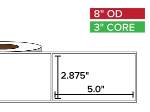 Rectangular Labels, Matte BOPP (poly) | 2.875 x 5 inches | 3 in. core, 8 in. outside diameter