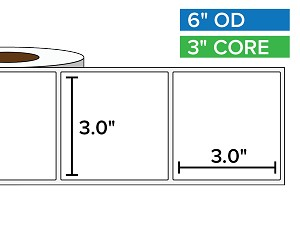 Rectangular Labels, Matte BOPP (poly) | 3 x 3 inches | 3 in. core, 6 in. outside diameter