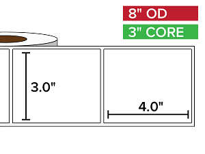 Rectangular Labels, Matte BOPP (poly) | 3 x 4 inches | 3 in. core, 8 in. outside diameter