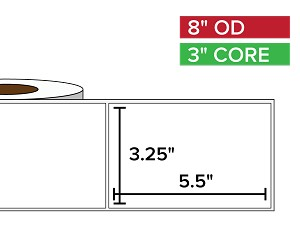 Rectangular Labels, Matte BOPP (poly) | 3.25 x 5.5 inches | 3 in. core, 8 in. outside diameter