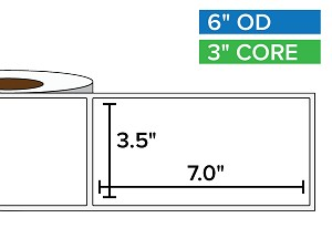 Rectangular Labels, Matte BOPP (poly) | 3.5 x 7 inches | 3 in. core, 6 in. outside diameter