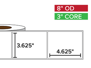 Rectangular Labels, Matte BOPP (poly) | 3.625 x 4.625 inches | 3 in. core, 8 in. outside diameter