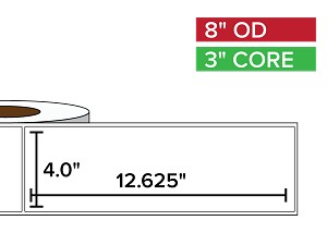 Rectangular Labels, Matte BOPP (poly) | 4 x 12.625 inches | 3 in. core, 8 in. outside diameter