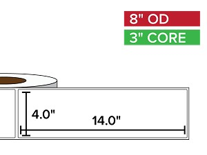 Rectangular Labels, Matte BOPP (poly) | 4 x 14 inches | 3 in. core, 8 in. outside diameter