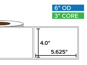 Rectangular Labels, Matte BOPP (poly) | 4 x 5.625 inches | 3 in. core, 6 in. outside diameter