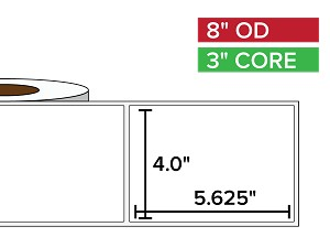 Rectangular Labels, Matte BOPP (poly) | 4 x 5.625 inches | 3 in. core, 8 in. outside diameter