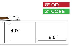 Rectangular Labels, Matte BOPP (poly) | 4 x 6 inches | 3 in. core, 8 in. outside diameter