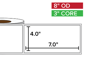 Rectangular Labels, Matte BOPP (poly) | 4 x 7 inches | 3 in. core, 8 in. outside diameter