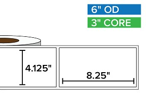 Rectangular Labels, Matte BOPP (poly) | 4.125 x 8.25 inches | 3 in. core, 6 in. outside diameter