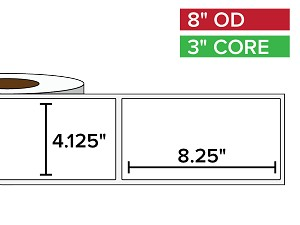 Rectangular Labels, Matte BOPP (poly) | 4.125 x 8.25 inches | 3 in. core, 8 in. outside diameter