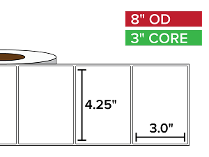 Rectangular Labels, Matte BOPP (poly) | 4.25 x 3 inches | 3 in. core, 8 in. outside diameter