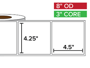Rectangular Labels, Matte BOPP (poly) | 4.25 x 4.5 inches | 3 in. core, 8 in. outside diameter
