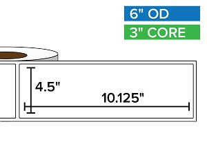 Rectangular Labels, Matte BOPP (poly) | 4.5 x 10.125 inches | 3 in. core, 6 in. outside diameter