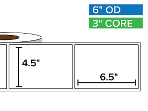 Rectangular Labels, Matte BOPP (poly) | 4.5 x 6.5 inches | 3 in. core, 6 in. outside diameter
