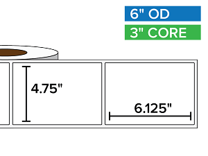 Rectangular Labels, Matte BOPP (poly) | 4.75 x 6.125 inches | 3 in. core, 6 in. outside diameter