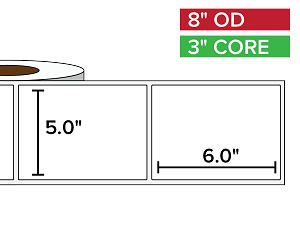 Rectangular Labels, Matte BOPP (poly) | 5 x 6 inches | 3 in. core, 8 in. outside diameter