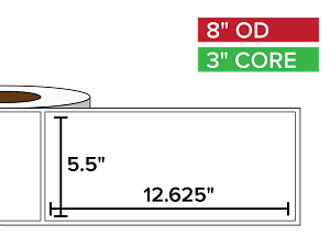 Rectangular Labels, Matte BOPP (poly) | 5.5 x 12.625 inches | 3 in. core, 8 in. outside diameter