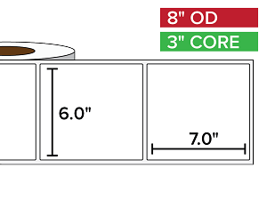 Rectangular Labels, Matte BOPP (poly) | 6 x 7 inches | 3 in. core, 8 in. outside diameter