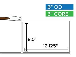 Rectangular Labels, Matte BOPP (poly) | 8 x 12.125 inches | 3 in. core, 6 in. outside diameter
