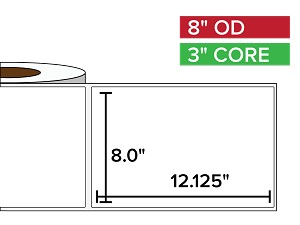 Rectangular Labels, Matte BOPP (poly) | 8 x 12.125 inches | 3 in. core, 8 in. outside diameter