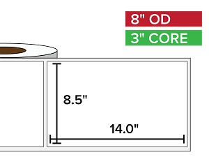 Rectangular Labels, Matte BOPP (poly) | 8.5 x 14 inches | 3 in. core, 8 in. outside diameter