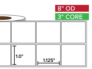 Rectangular Labels, Matte White Paper | 1 x 1.125 inches, 2-UP | 3 in. core, 8 in. outside diameter
