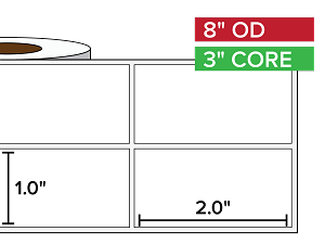 Rectangular Labels, Matte White Paper | 1 x 2 inches, 2-UP | 3 in. core, 8 in. outside diameter