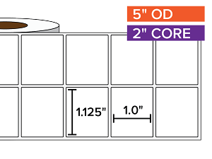 Rectangular Labels, Matte White Paper | 1.125 x 1 inches, 2-UP | 2 in. core, 5 in. outside diameter