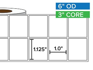 Rectangular Labels, Matte White Paper | 1.125 x 1 inches, 2-UP | 3 in. core, 6 in. outside diameter