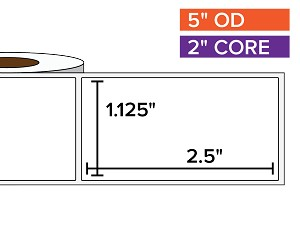 Rectangular Labels, Matte White Paper | 1.125 x 2.5 inches | 2 in. core, 5 in. outside diameter