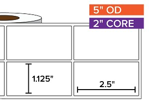 Rectangular Labels, Matte White Paper | 1.125 x 2.5 inches, 2-UP | 2 in. core, 5 in. outside diameter