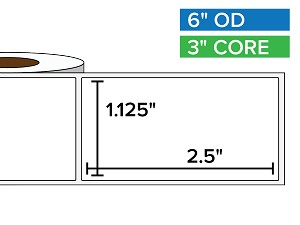 Rectangular Labels, Matte White Paper | 1.125 x 2.5 inches | 3 in. core, 6 in. outside diameter