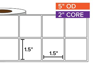Rectangular Labels, Matte White Paper | 1.5 x 1.5 inches, 2-UP | 2 in. core, 5 in. outside diameter