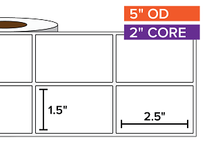 Rectangular Labels, Matte White Paper | 1.5 x 2.5 inches, 2-UP | 2 in. core, 5 in. outside diameter