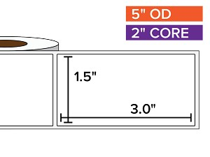 Rectangular Labels, Matte White Paper | 1.5 x 3 inches | 2 in. core, 5 in. outside diameter
