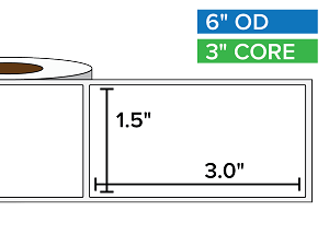 Rectangular Labels, Matte White Paper | 1.5 x 3 inches | 3 in. core, 6 in. outside diameter