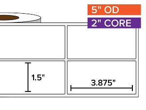 Rectangular Labels, Matte White Paper | 1.5 x 3.875 inches, 2-UP | 2 in. core, 5 in. outside diameter