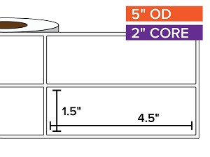 Rectangular Labels, Matte White Paper | 1.5 x 4.5 inches, 2-UP | 2 in. core, 5 in. outside diameter