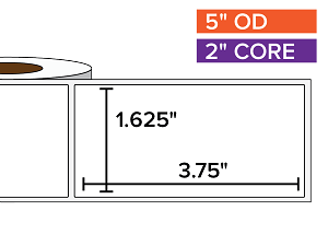 Rectangular Labels, Matte White Paper | 1.625 x 3.75 inches | 2 in. core, 5 in. outside diameter