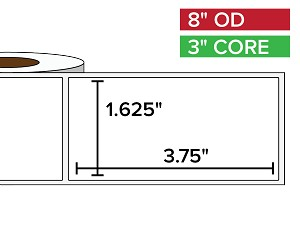 Rectangular Labels, Matte White Paper | 1.625 x 3.75 inches | 3 in. core, 8 in. outside diameter